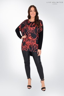 Live Unlimited Curve Red Blossom Printed Top