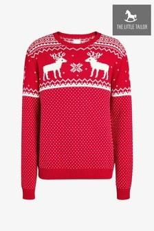 The Little Tailor Herren Weihnachtspullover mit Rentiermotiv, Rot
