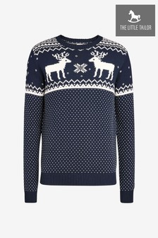 The Little Tailor Mens Navy Reindeer Christmas Jumper