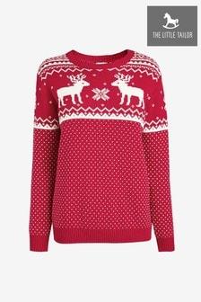 The Little Tailor Ladies Red Reindeer Christmas Jumper