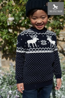 The Little Tailor Childrens Navy Reindeer Christmas Jumper