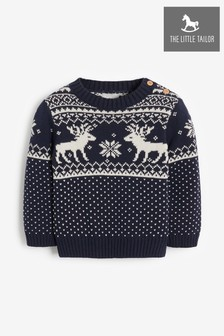 The Little Tailor Babies Navy Reindeer Christmas Jumper