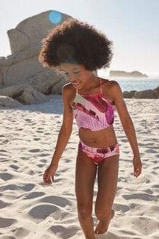 Bikini cu imprimeu pene și palmier (3-16ani)
