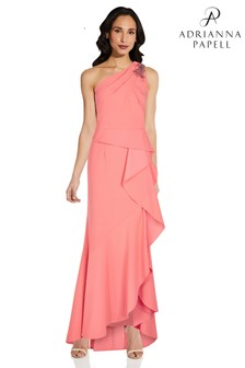 Adrianna Papell Pink One Shoulder Crepe Gown