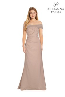 Adrianna Papell Natural Metallic Knit Gown