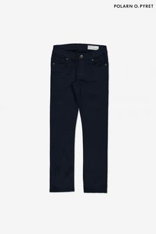 Polarn O. Pyret Blue Organic Cotton Slim Fit Twill Jeans