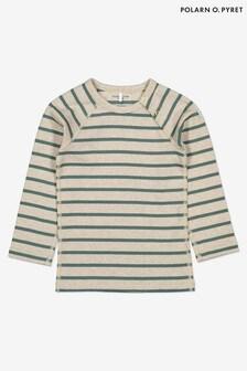 Polarn O. Pyret Green GOTS Organic Striped Top