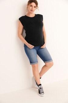 Джинсовые шорты до колена для беременных