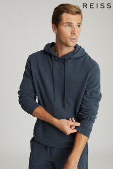 Reiss Airforce Blue Berwick Garment Dyed Hoody