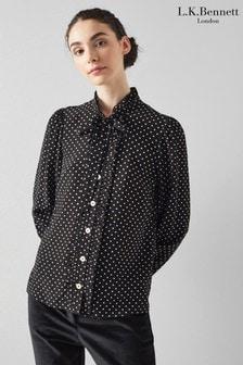 חולצה עם גימור גלי דגם Dina בצבע שחור של L.K.Bennett