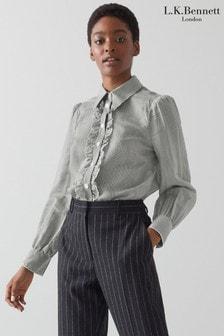 חולצת פסים של L.K.Benett דגם Carter בלבן עם מלמלה