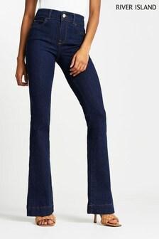 Темные расклешенные джинсы с завышенной талией River Island
