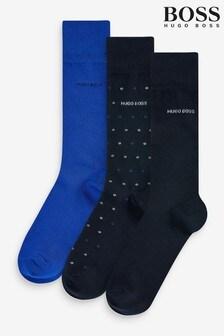 BOSS 藍色襪 3包禮盒裝