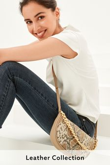 Leather Padded Stitch Detail Cross-Body Bag