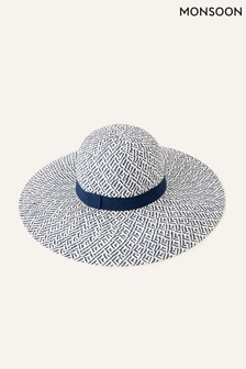 Monsoon Blue Pattern Floppy Straw Hat