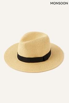Monsoon Natural Band Trim Fedora Hat