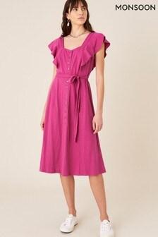 שמלת ג'רזי של Monsoon דגם Fia בוורוד עם כפתורים ומלמלה