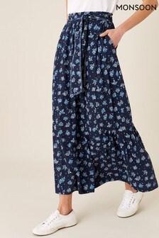חצאית מקסי עם הדפס של Monsoon דגם Floss עם כותנה אורגנית בכחול