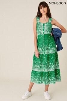 שמלה קייצית מכותנה אורגנית של Monsoon בירוק עם הדפס פרחוני