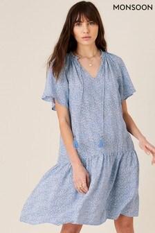 שמלה מויסקוזה בת קיימא של Monsoon פרחונית בכחול