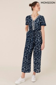 Monsoon Blue Artisan Studio Batik Print Jumpsuit (M08942)   $104