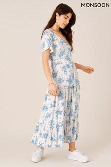 שמלת מידי פרחונית של Monsoon מבדLenzing™ Ecovero™ בצבע טבעי