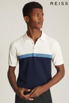 Reiss Blue Christie Colourblock Polo Shirt