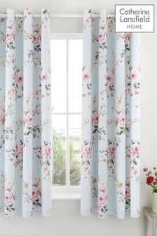 Catherine Lansfield Duck Egg Canterbury Eyelet Curtains