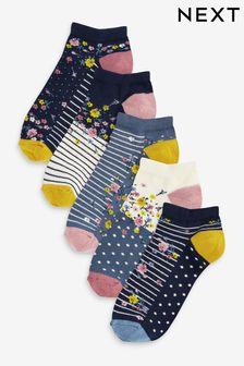 5 пар низких носков с цветочным принтом