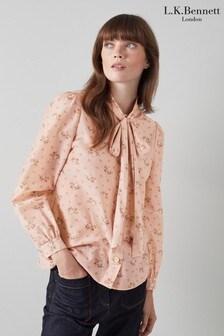 חולצה עם הדפס וורודים בצבע וורוד זוהר של LK Bennett