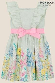 Monsoon藍色嬰兒裝花朵緹花連衣裙