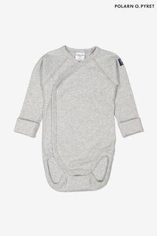 Polarn O. Pyret Grey Organic Cotton Wrap Bodysuit
