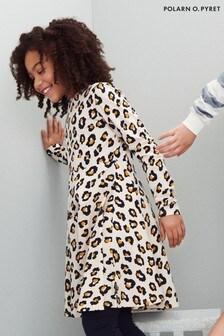 Polarn O. Pyret Kleid aus Biobaumwolle mit Leoprint, Creme