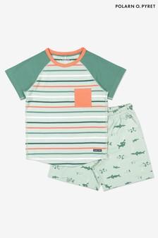 Зеленая пижама из органического хлопка с принтом акул Polarn O. Pyret