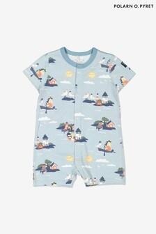 Синяя пижама из органического хлопка с морским рисунком Polarn O. Pyret