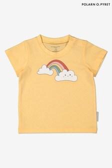 Polarn O. Pyret - Geel T-shirt van biologisch katoen met regenboogprint