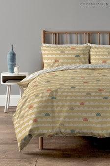 Copenhagen Home Yellow Scandi Waves Duvet Cover and Pillowcase Set