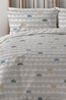 Copenhagen Home Silver Scandi Waves Duvet Cover and Pillowcase Set