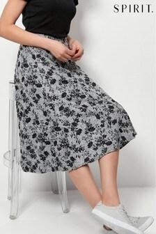 Spirit Grey Floral Midi Skirt