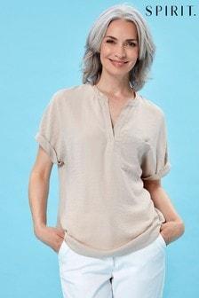 חולצה ללא רכיסה עם שרוול קצר בצבע אפור שלSpirit