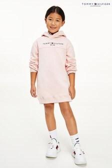 فستان بقلنسوة وردي أساسي من Tommy Hilfiger