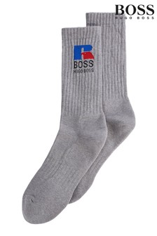 BOSS 銀灰色Russell運動襪