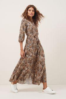 Volume Sleeve Belted Shirt Dress (M11315) | $60