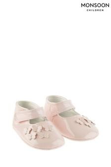 Monsoon Pink Baby Patent Butterfly Booties