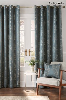 Ashley Wilde Blue Wilstone Blackout Eyelet Curtains