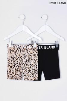 River Island Black Foldover Cycle Shorts 2 Pack