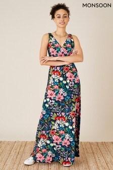 שמלת מקסי צמודה מבד ג'רזי עם דוגמה פרחונית בצבע כחול שלMonsoon