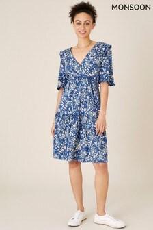 שמלת ג'רזי בעיצוב קומות של Monsoon בכחול פרחוני