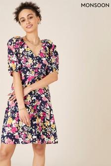 שמלה פרחונית מתערובת פשתן בצבע כחול שלMonsoon
