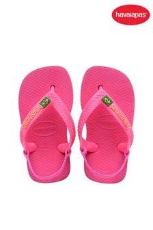 Havaianas Pink Baby Brasil Logo Flip Flops